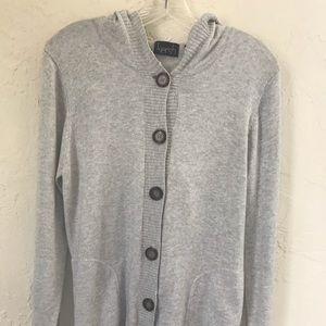 KERSH Gray Cotton Cashmere Hooded Cardigan